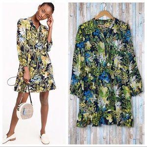 J Crew XL Silk Floral Watercolor Ruffle Dress